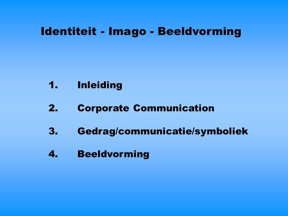 Identiteit - Imago - Beeldvorming 1.Inleiding 2.Corporate Communication 3.Gedrag/communicatie/symboliek 4.