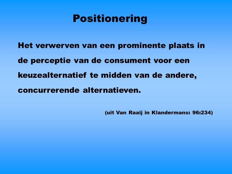 Positionering Het verwerven van een prominente plaats in de perceptie van de consument voor een keuzealternatief te midden van de andere, concurrerende alternatieven.