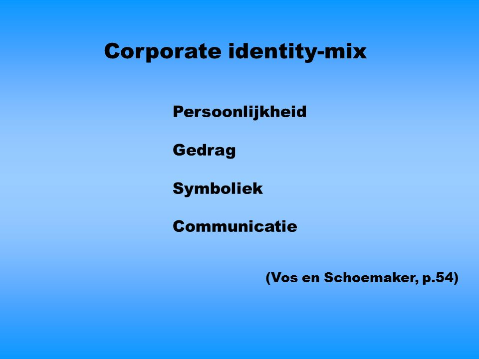 Corporate identity-mix Persoonlijkheid Gedrag Symboliek Communicatie (Vos en Schoemaker, p.54)