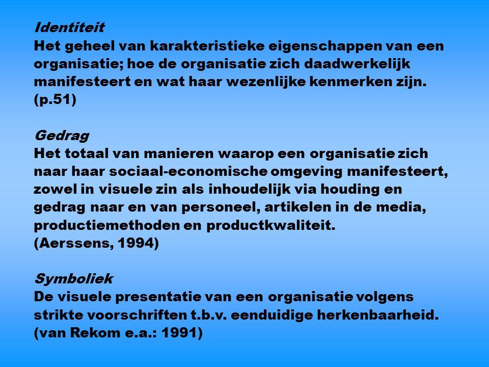 Identiteit Het geheel van karakteristieke eigenschappen van een organisatie; hoe de organisatie zich daadwerkelijk manifesteert en wat haar wezenlijke kenmerken zijn.