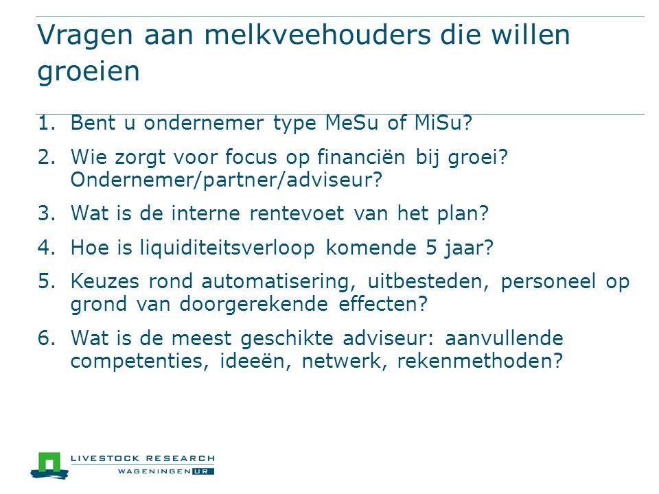 Vragen aan melkveehouders die willen groeien 1.Bent u ondernemer type MeSu of MiSu.