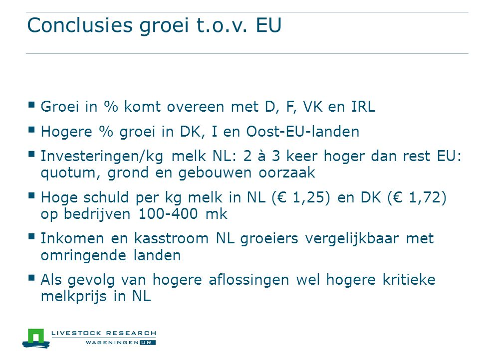 Conclusies groei t.o.v.