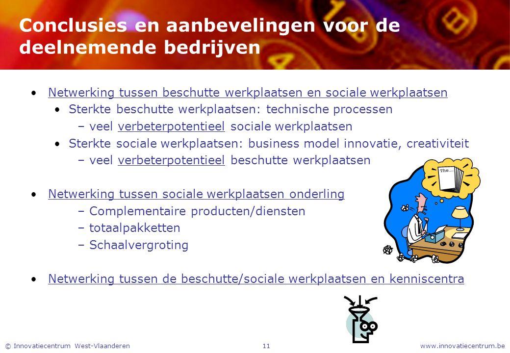 www.innovatiecentrum.be© Innovatiecentrum West-Vlaanderen11 Conclusies en aanbevelingen voor de deelnemende bedrijven Netwerking tussen beschutte werk