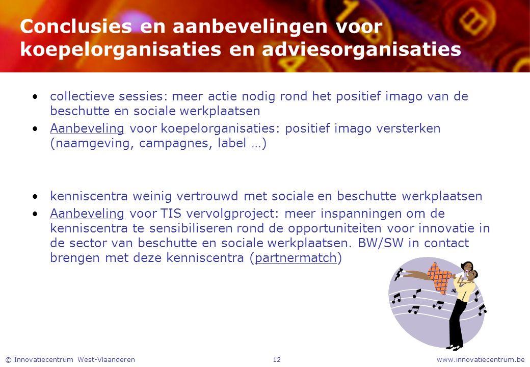 www.innovatiecentrum.be© Innovatiecentrum West-Vlaanderen12 Conclusies en aanbevelingen voor koepelorganisaties en adviesorganisaties collectieve sess