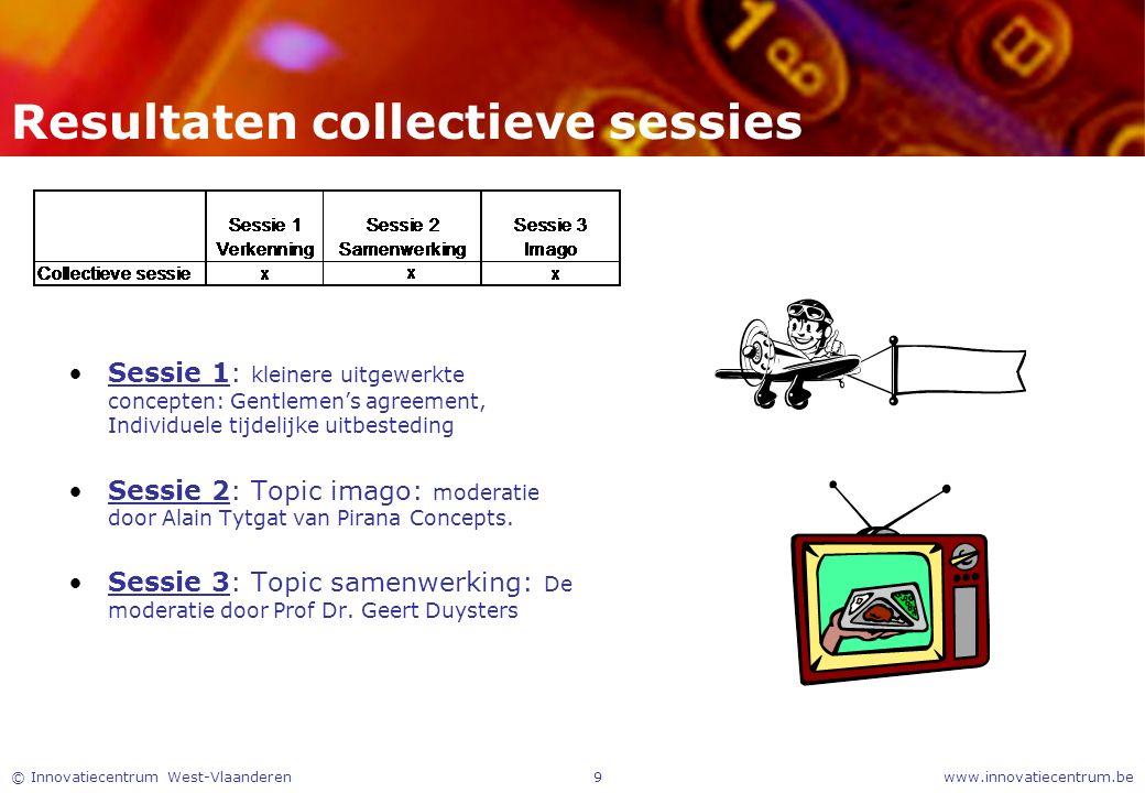 www.innovatiecentrum.be© Innovatiecentrum West-Vlaanderen9 Resultaten collectieve sessies Sessie 1: kleinere uitgewerkte concepten: Gentlemen's agreem