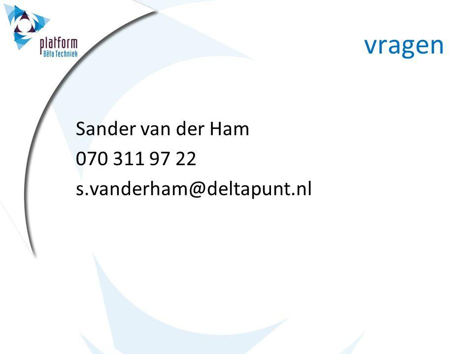 vragen Sander van der Ham 070 311 97 22 s.vanderham@deltapunt.nl