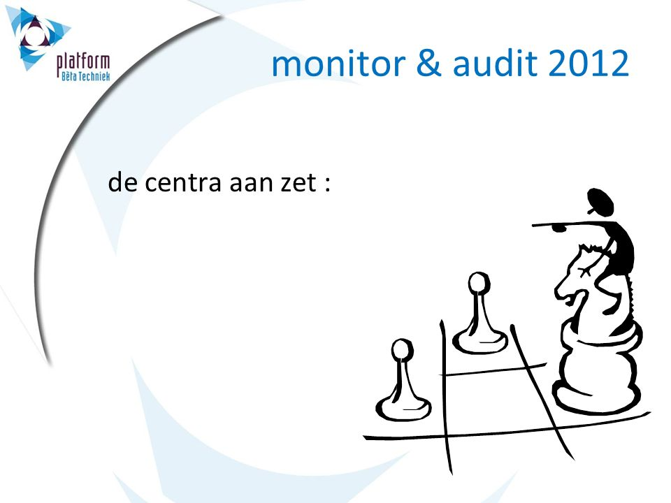 monitor doel: 1.zelfevaluatie: inzicht in eigen ontwikkeling 2.basis voor externe beoordeling en advies inrichting: centra leveren inhoud monitor obv.