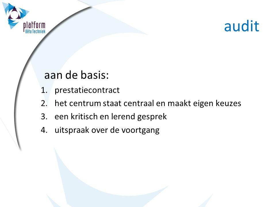 audit aan de basis: 1.prestatiecontract 2.het centrum staat centraal en maakt eigen keuzes 3.een kritisch en lerend gesprek 4.uitspraak over de voortgang