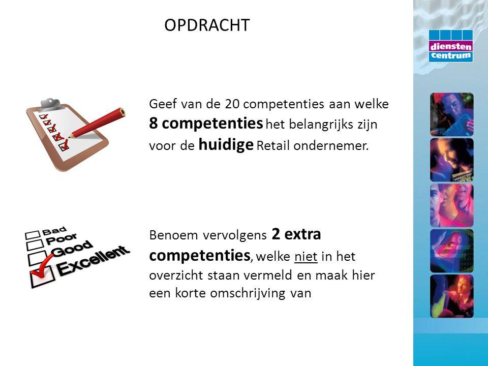 Geef van de 20 competenties aan welke 8 competenties het belangrijks zijn voor de huidige Retail ondernemer. Benoem vervolgens 2 extra competenties, w