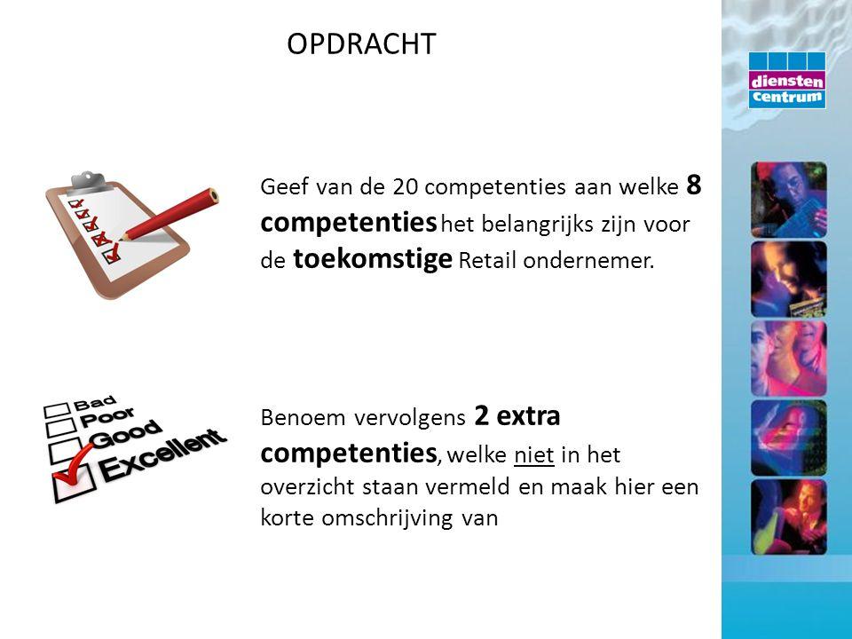 Geef van de 20 competenties aan welke 8 competenties het belangrijks zijn voor de toekomstige Retail ondernemer. Benoem vervolgens 2 extra competentie