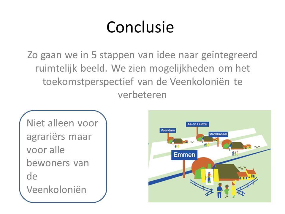 Conclusie Zo gaan we in 5 stappen van idee naar geïntegreerd ruimtelijk beeld. We zien mogelijkheden om het toekomstperspectief van de Veenkoloniën te