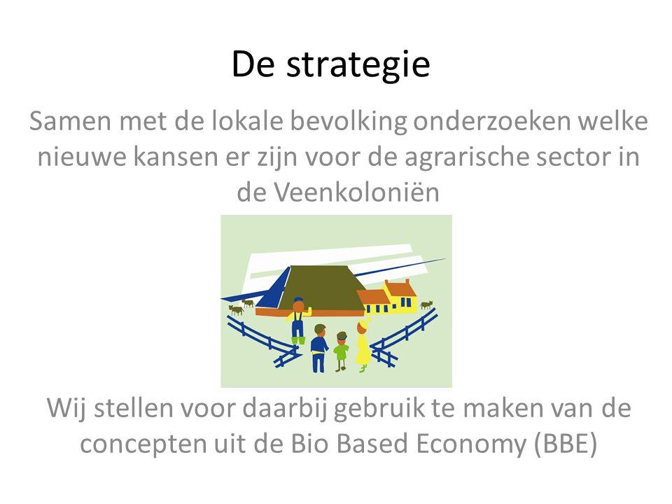 De strategie Samen met de lokale bevolking onderzoeken welke nieuwe kansen er zijn voor de agrarische sector in de Veenkoloniën Wij stellen voor daarb
