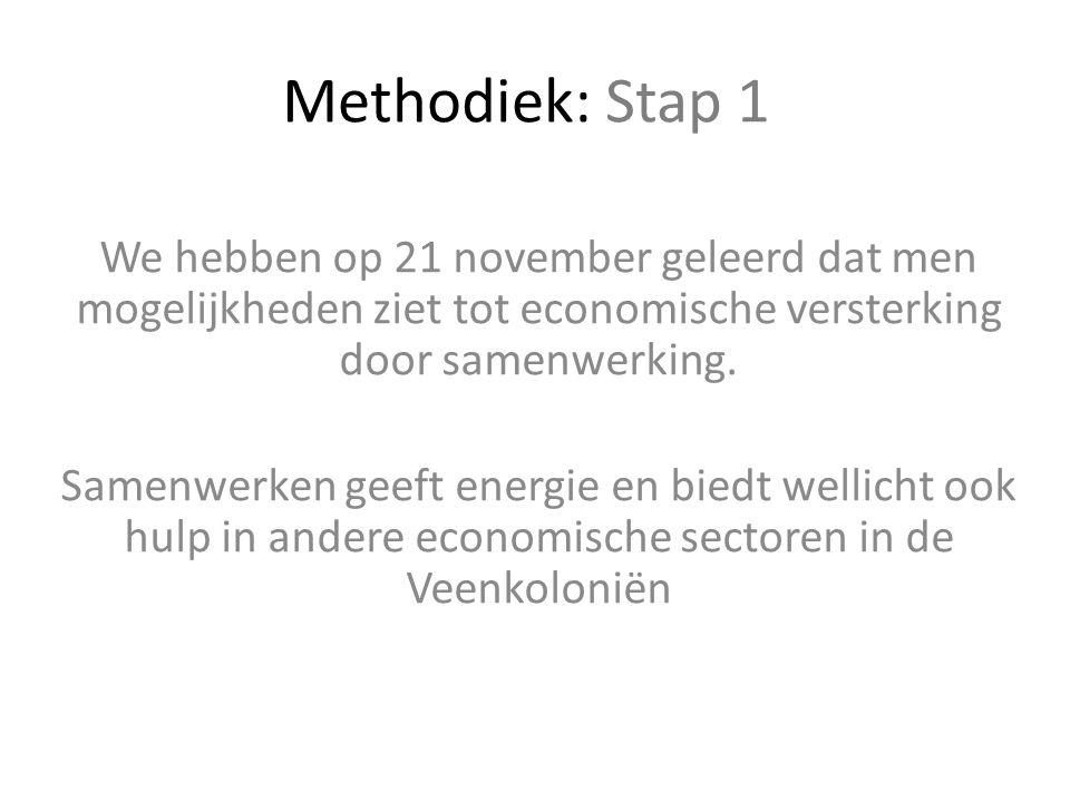 Methodiek: Stap 1 We hebben op 21 november geleerd dat men mogelijkheden ziet tot economische versterking door samenwerking. Samenwerken geeft energie