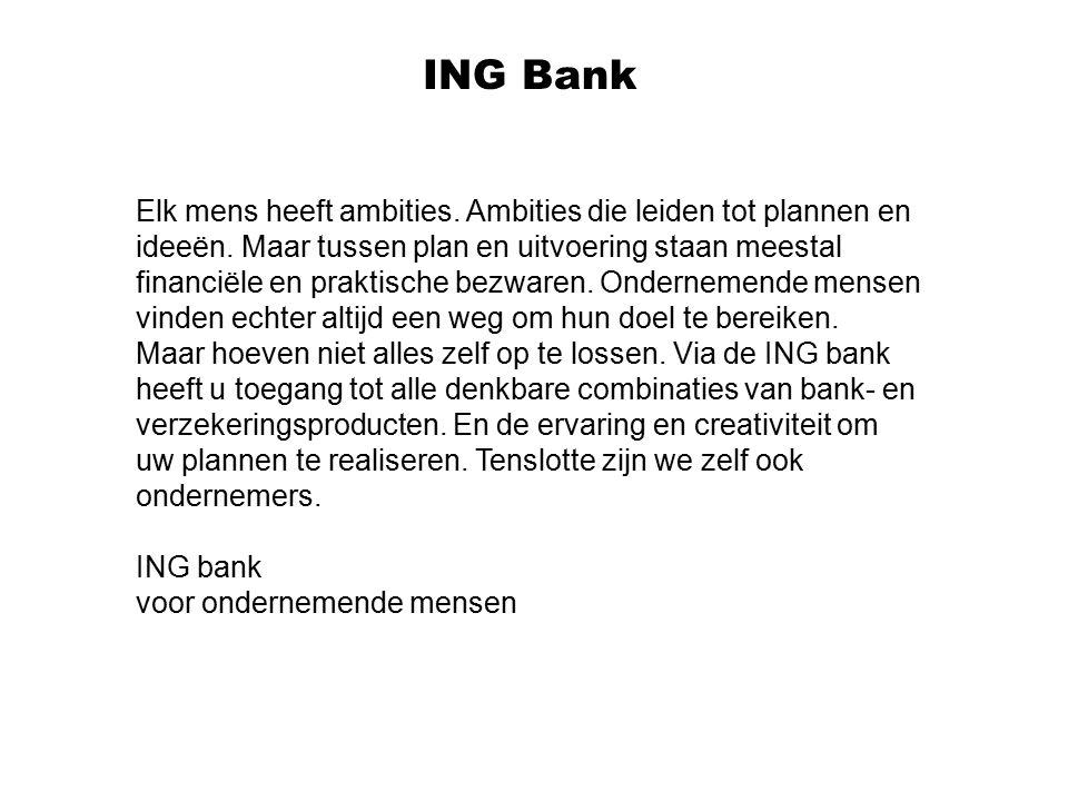 ING Bank Elk mens heeft ambities. Ambities die leiden tot plannen en ideeën. Maar tussen plan en uitvoering staan meestal financiële en praktische bez