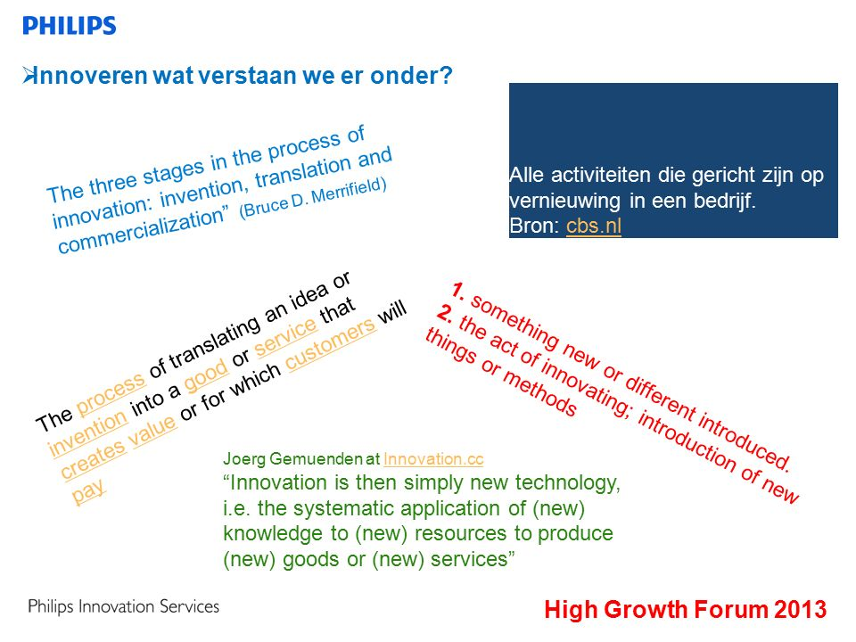 The process of translating an idea or invention into a good or service that creates value or for which customers will payprocess inventiongoodservice createsvaluecustomers pay High Growth Forum 2013  Innoveren wat verstaan we er onder.
