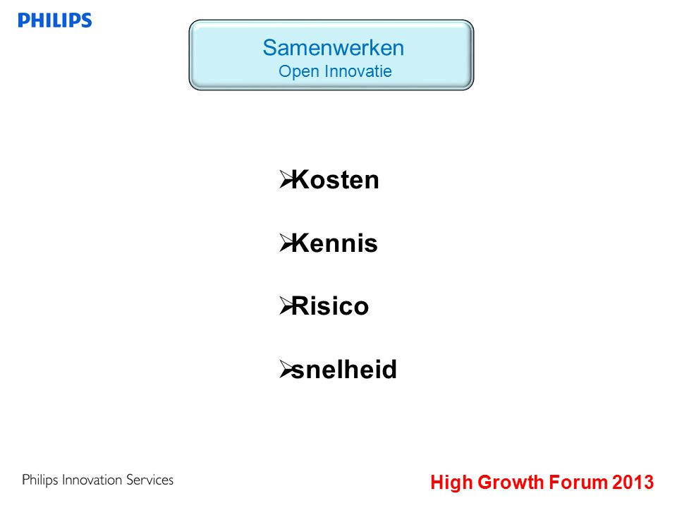 High Growth Forum 2013 Samenwerken Open Innovatie  Kosten  Kennis  Risico  snelheid