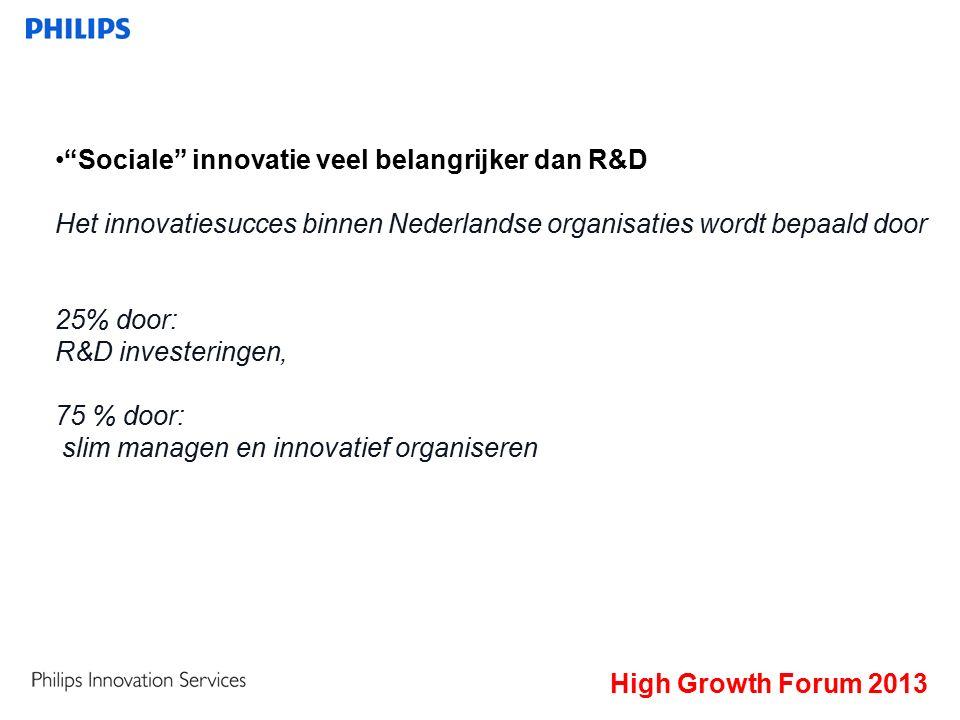 High Growth Forum 2013 De innovatieparadox: Uit onderzoek blijkt dat Nederlandse bedrijven veel kennis ontwikkelen.