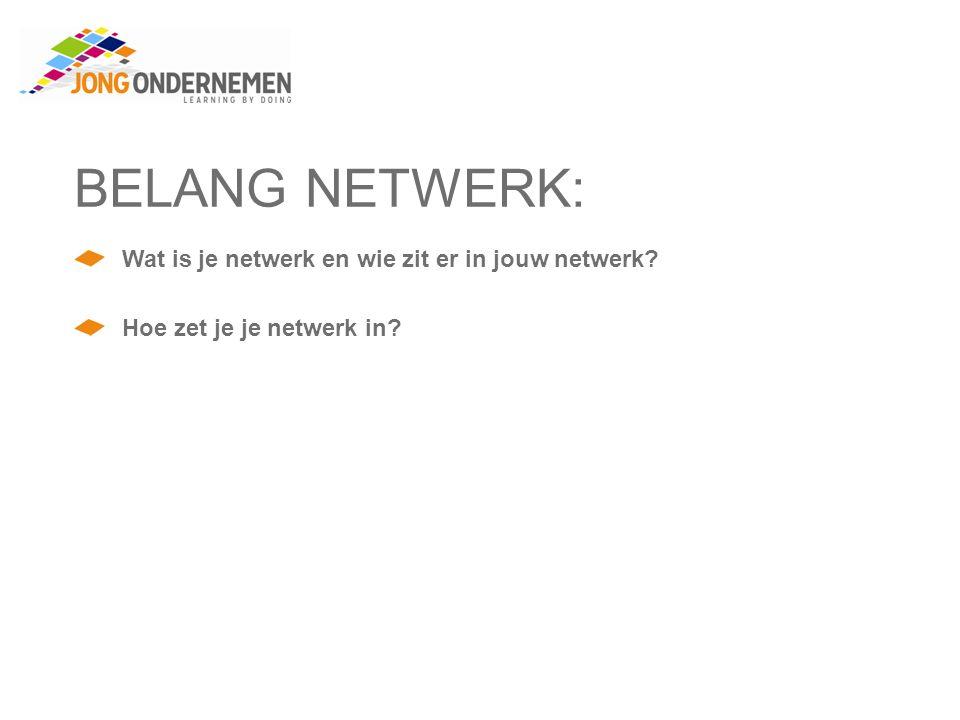 BELANG NETWERK: Wat is je netwerk en wie zit er in jouw netwerk? Hoe zet je je netwerk in?