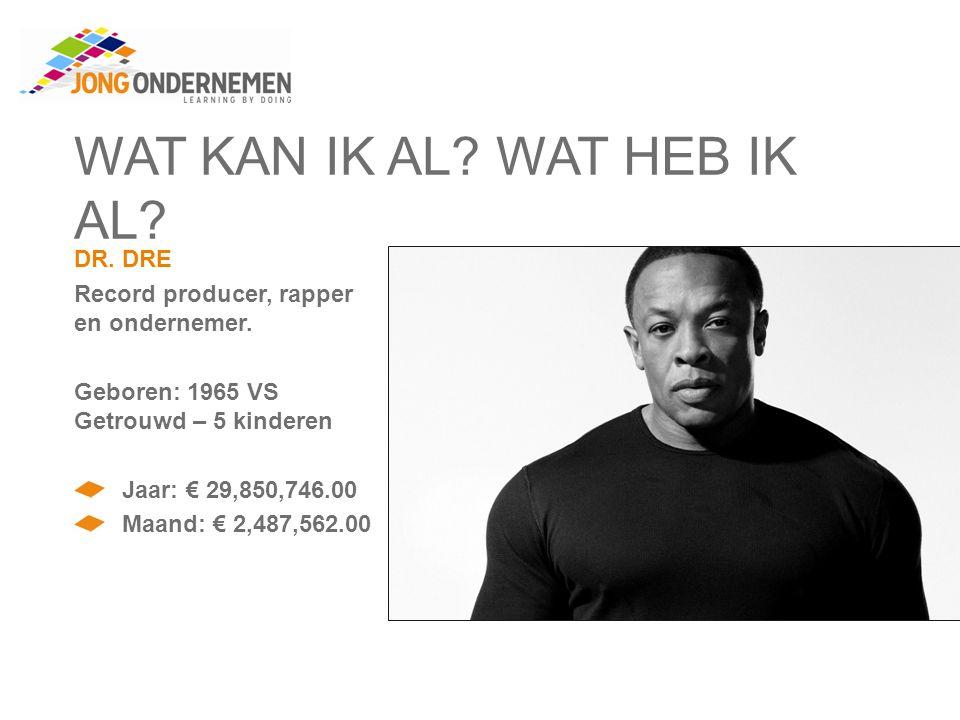WAT KAN IK AL. WAT HEB IK AL. DR. DRE Record producer, rapper en ondernemer.