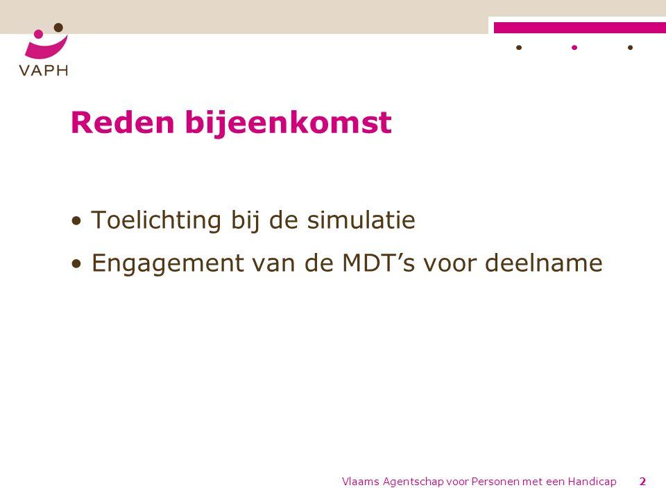 Vlaams Agentschap voor Personen met een Handicap2 Reden bijeenkomst Toelichting bij de simulatie Engagement van de MDT's voor deelname
