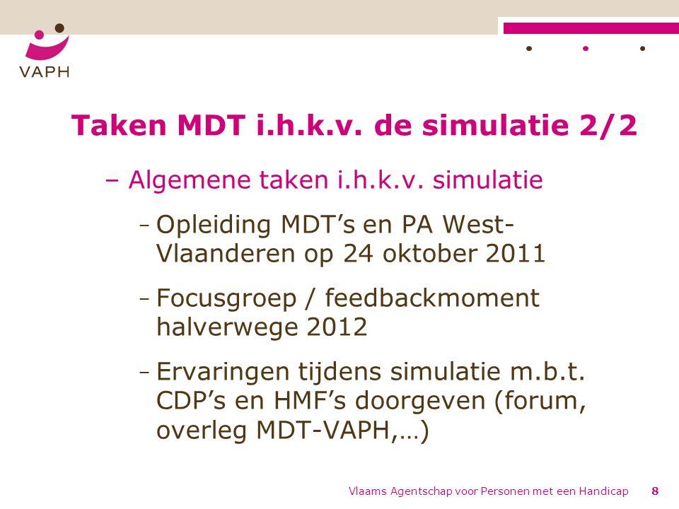 Vlaams Agentschap voor Personen met een Handicap8 Taken MDT i.h.k.v. de simulatie 2/2 – Algemene taken i.h.k.v. simulatie − Opleiding MDT's en PA West