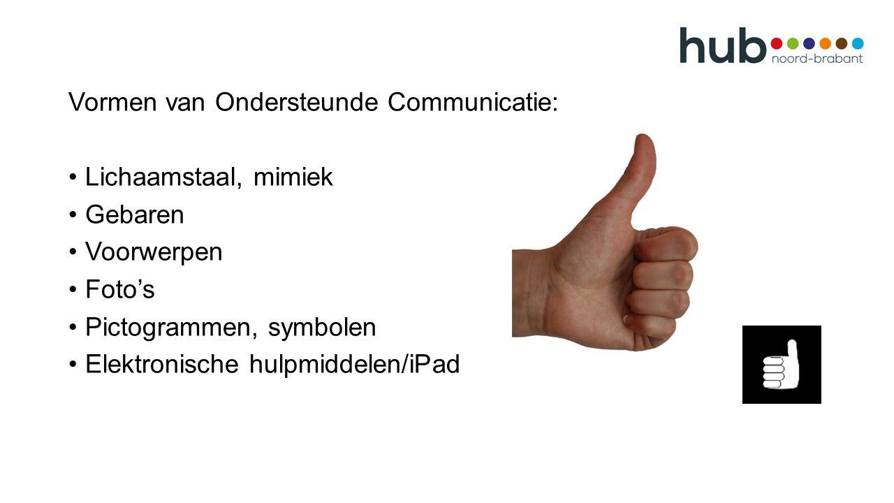 Vormen van Ondersteunde Communicatie: Lichaamstaal, mimiek Gebaren Voorwerpen Foto's Pictogrammen, symbolen Elektronische hulpmiddelen/iPad