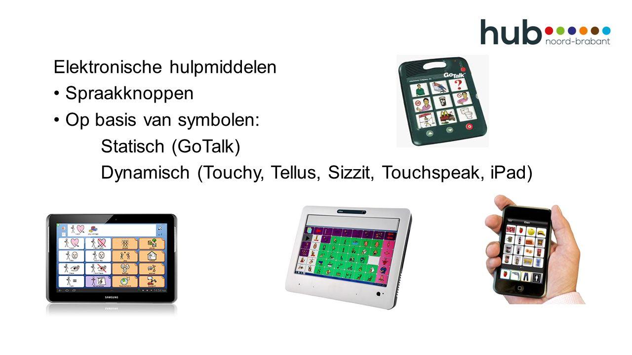Elektronische hulpmiddelen Spraakknoppen Op basis van symbolen: Statisch (GoTalk) Dynamisch (Touchy, Tellus, Sizzit, Touchspeak, iPad)