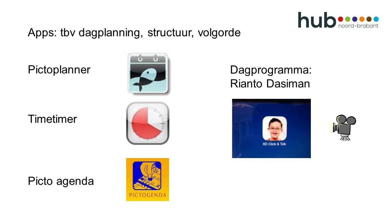 Apps: tbv dagplanning, structuur, volgorde Pictoplanner Timetimer Picto agenda Dagprogramma: Rianto Dasiman