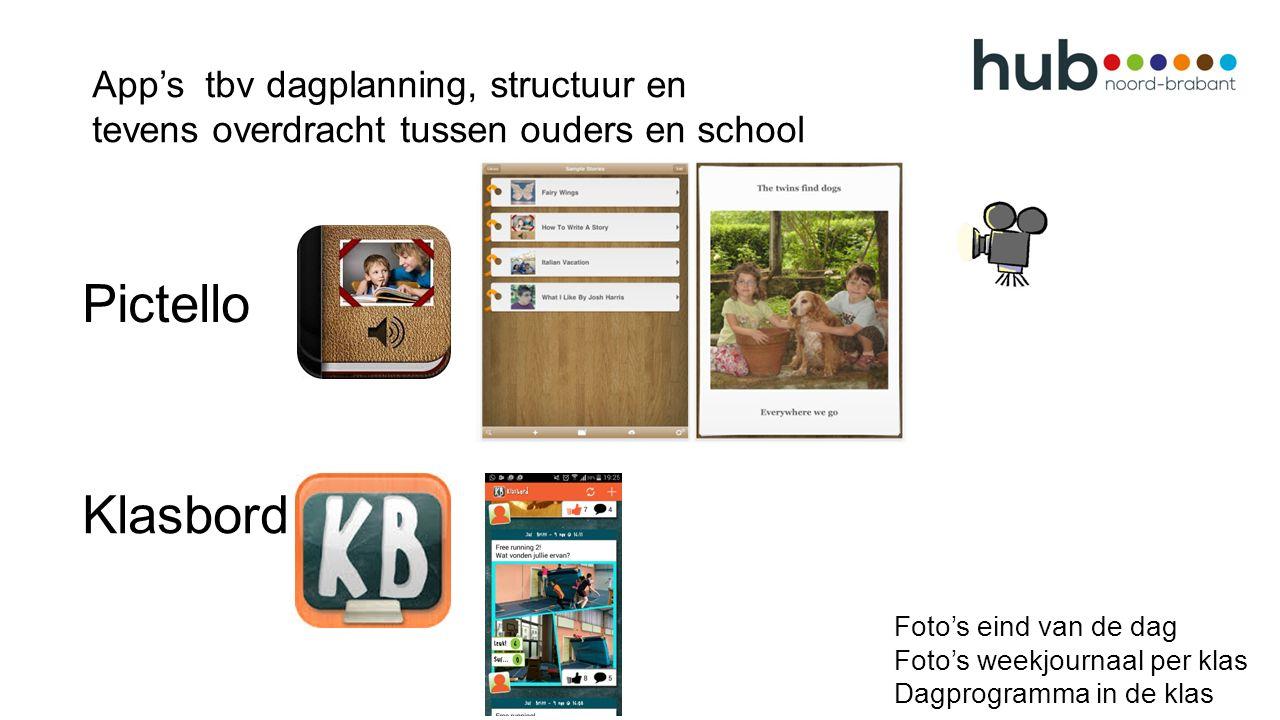 Foto's eind van de dag Foto's weekjournaal per klas Dagprogramma in de klas Klasbord App's tbv dagplanning, structuur en tevens overdracht tussen ouders en school Pictello