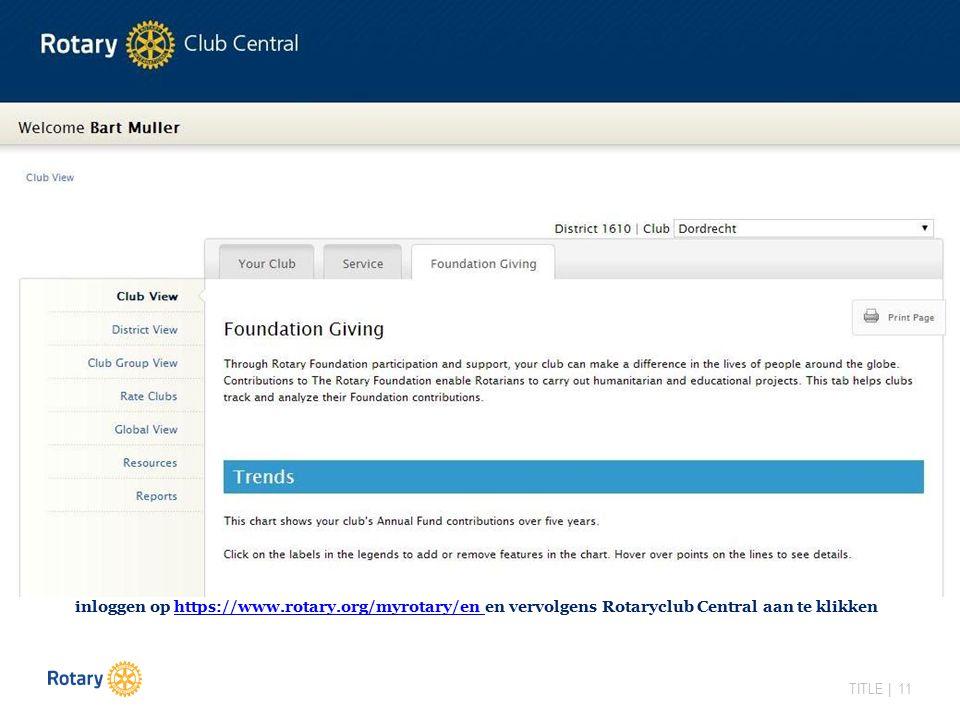 TITLE | 11 inloggen op https://www.rotary.org/myrotary/en en vervolgens Rotaryclub Central aan te klikkenhttps://www.rotary.org/myrotary/en