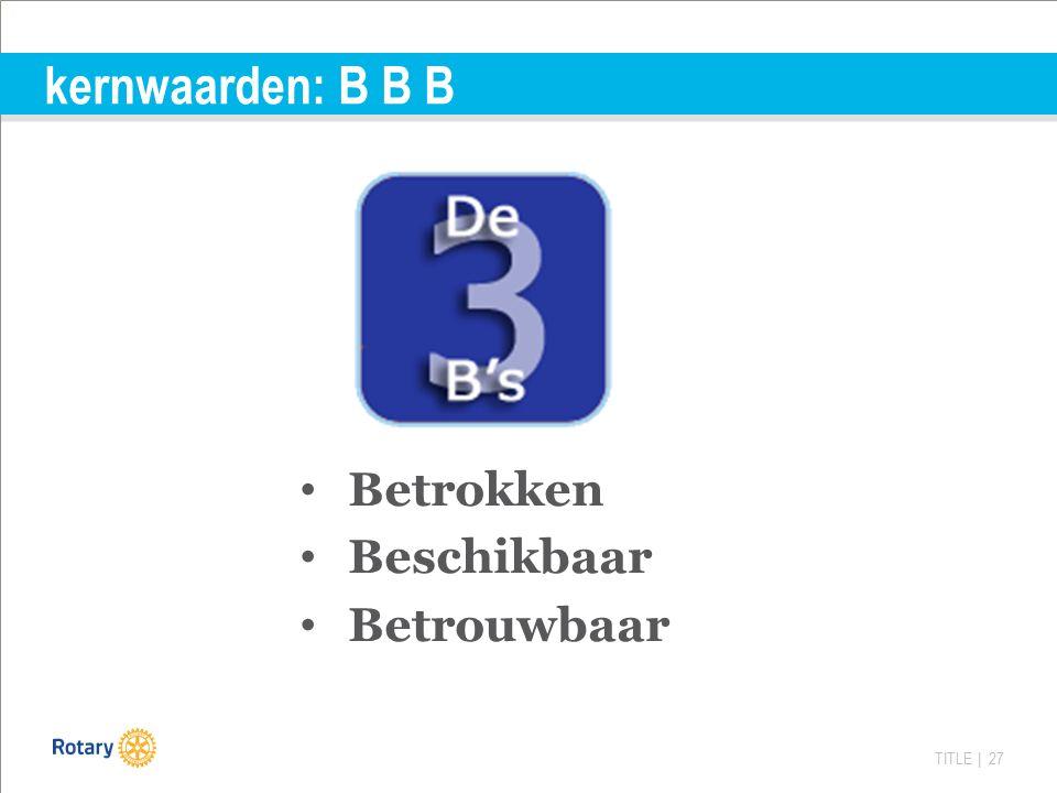TITLE | 27 kernwaarden: B B B Betrokken Beschikbaar Betrouwbaar