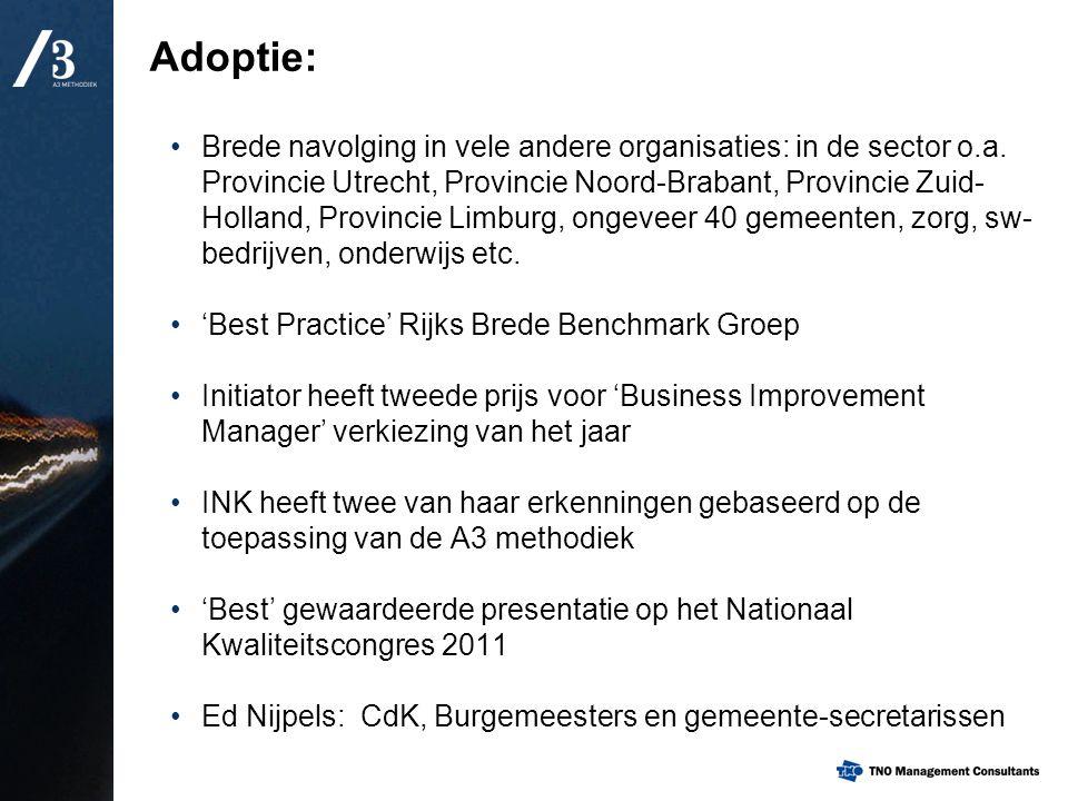 Adoptie: Brede navolging in vele andere organisaties: in de sector o.a. Provincie Utrecht, Provincie Noord-Brabant, Provincie Zuid- Holland, Provincie