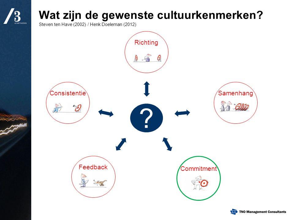 Wat zijn de gewenste cultuurkenmerken? Steven ten Have (2002) / Henk Doeleman (2012) Consistentie Richting Feedback Commitment Samenhang ?