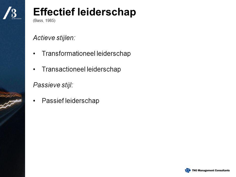 Actieve stijlen: Transformationeel leiderschap Transactioneel leiderschap Passieve stijl: Passief leiderschap Effectief leiderschap (Bass, 1985)