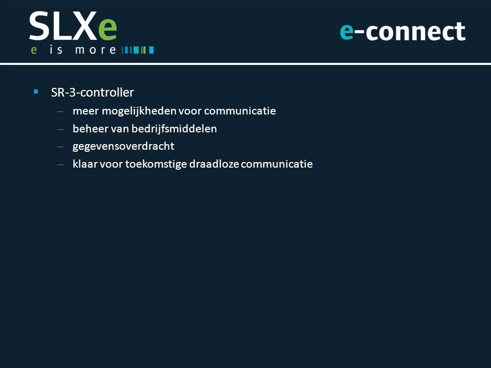  SR-3-controller – meer mogelijkheden voor communicatie – beheer van bedrijfsmiddelen – gegevensoverdracht – klaar voor toekomstige draadloze communicatie  TracKing™ – online systeem – koeltransport van vertrek tot aankomst volgen – totaalbeheer van bedrijfsmiddelen  Standaard met USB-aansluiting  OptiSet™ Plus – vooraf ingestelde bedieningsparameters – werking unit afstemmen op lading  SR-3-controller – meer mogelijkheden voor communicatie – beheer van bedrijfsmiddelen – gegevensoverdracht – klaar voor toekomstige draadloze communicatie