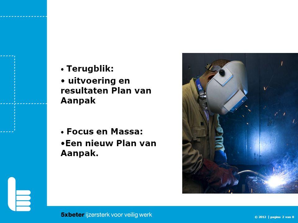 © 2012 | pagina 2 van 8 Terugblik: uitvoering en resultaten Plan van Aanpak Focus en Massa: Een nieuw Plan van Aanpak.