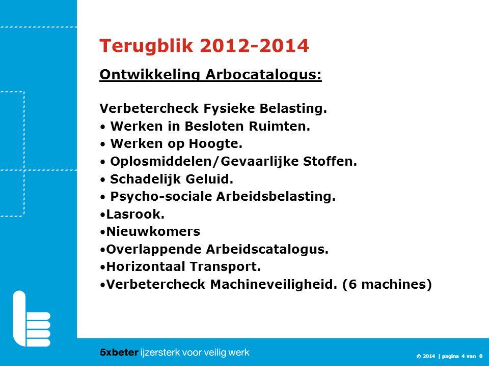 © 2014 | pagina 4 van 8 Terugblik 2012-2014 Ontwikkeling Arbocatalogus: Verbetercheck Fysieke Belasting. Werken in Besloten Ruimten. Werken op Hoogte.