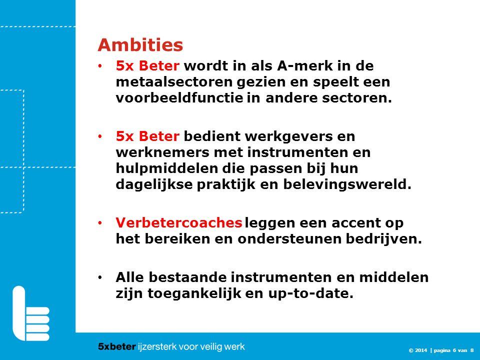 © 2014 | pagina 6 van 8 Ambities 5x Beter wordt in als A-merk in de metaalsectoren gezien en speelt een voorbeeldfunctie in andere sectoren. 5x Beter