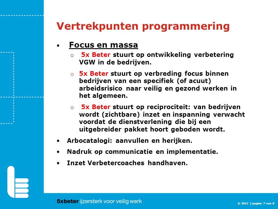 © 2012 | pagina 7 van 8 Vertrekpunten programmering Focus en massa o 5x Beter stuurt op ontwikkeling verbetering VGW in de bedrijven. o 5x Beter stuur