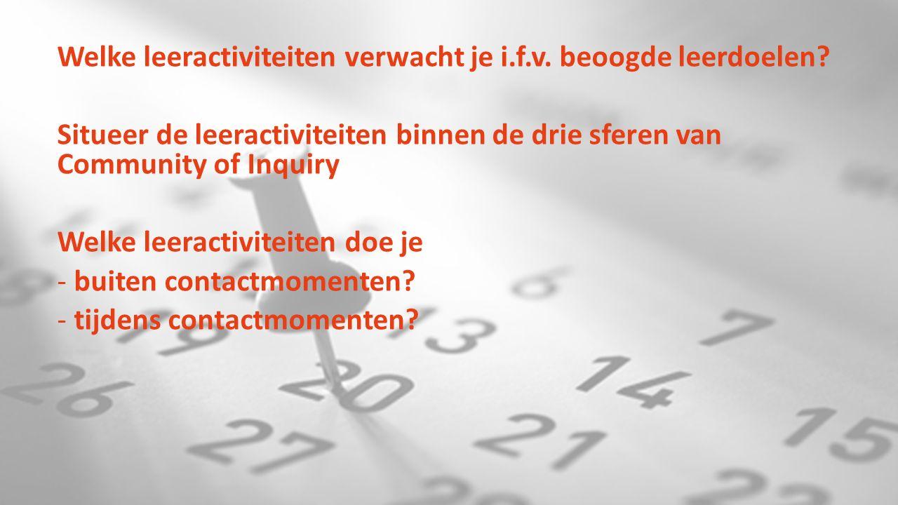 tijdsaspect Welke leeractiviteiten verwacht je i.f.v.