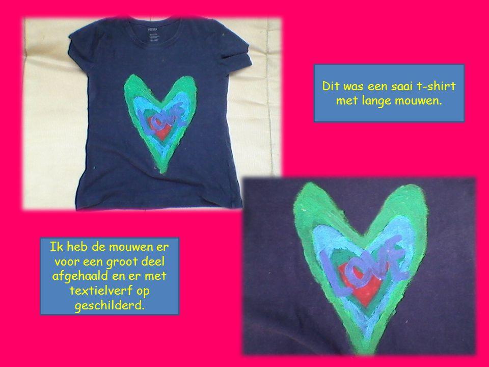 Dit was een saai t-shirt met lange mouwen. Ik heb de mouwen er voor een groot deel afgehaald en er met textielverf op geschilderd.