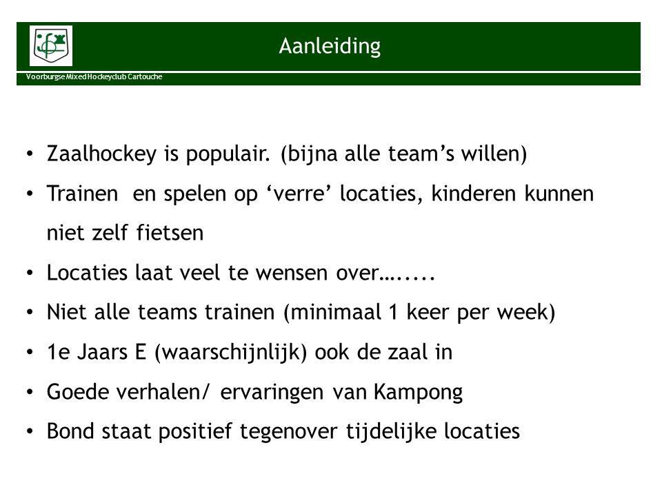Aanleiding Voorburgse Mixed Hockeyclub Cartouche Zaalhockey is populair. (bijna alle team's willen) Trainen en spelen op 'verre' locaties, kinderen ku