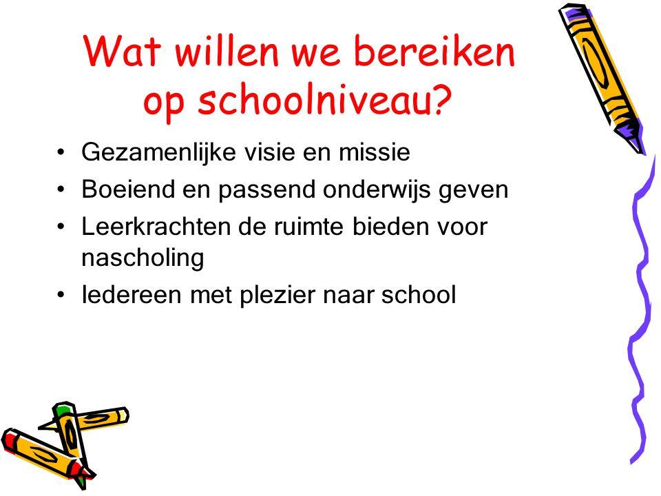 Wat willen we bereiken op schoolniveau.