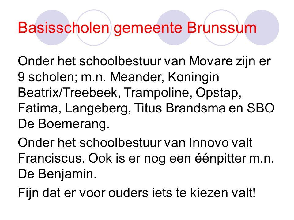 Basisscholen gemeente Brunssum Onder het schoolbestuur van Movare zijn er 9 scholen; m.n.