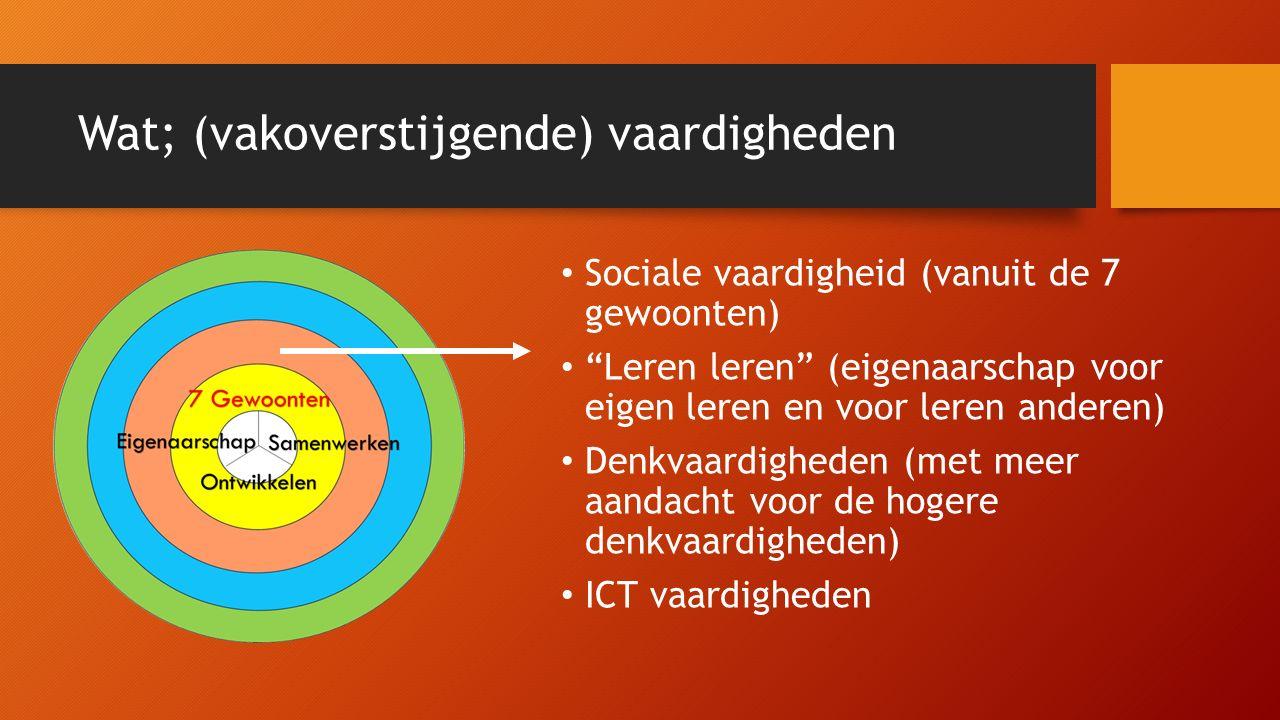 """Wat; (vakoverstijgende) vaardigheden Sociale vaardigheid (vanuit de 7 gewoonten) """"Leren leren"""" (eigenaarschap voor eigen leren en voor leren anderen)"""