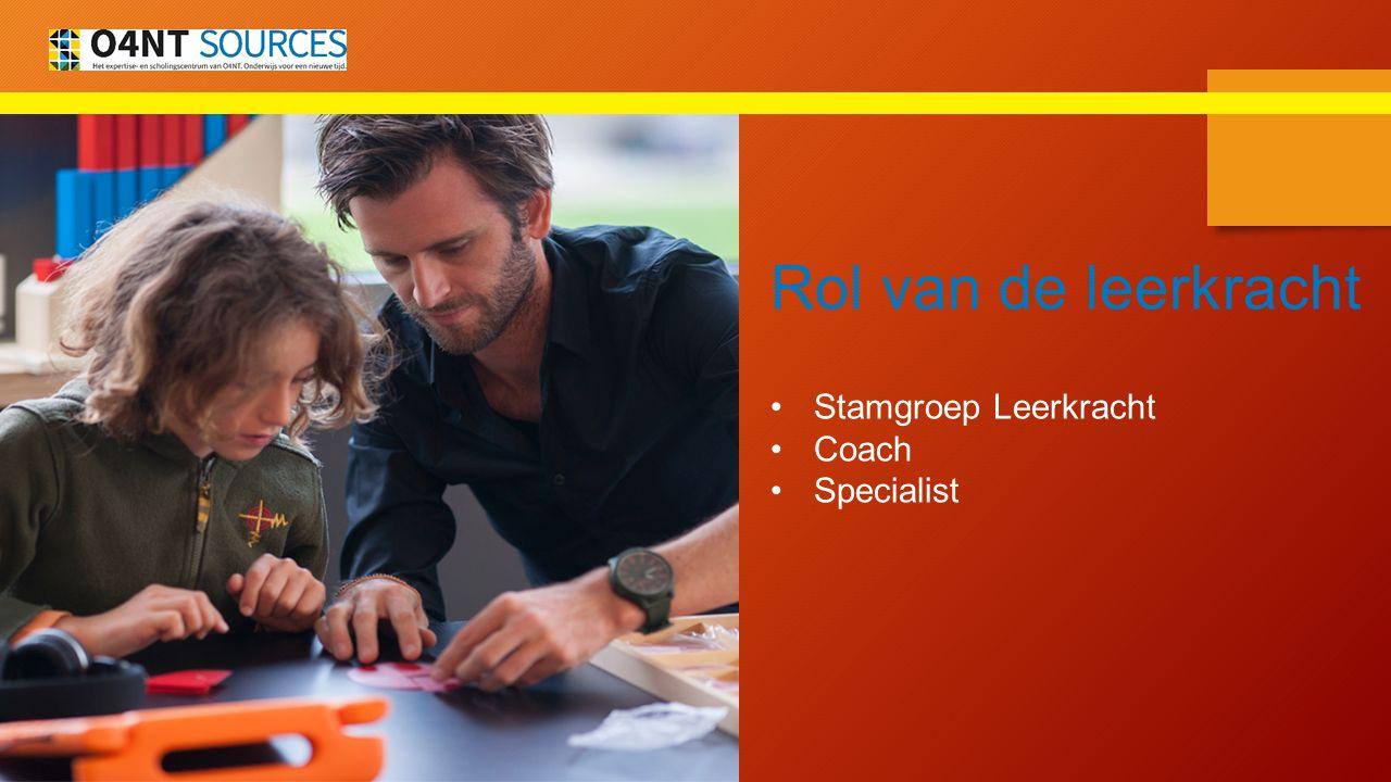 Rol van de leerkracht Stamgroep Leerkracht Coach Specialist