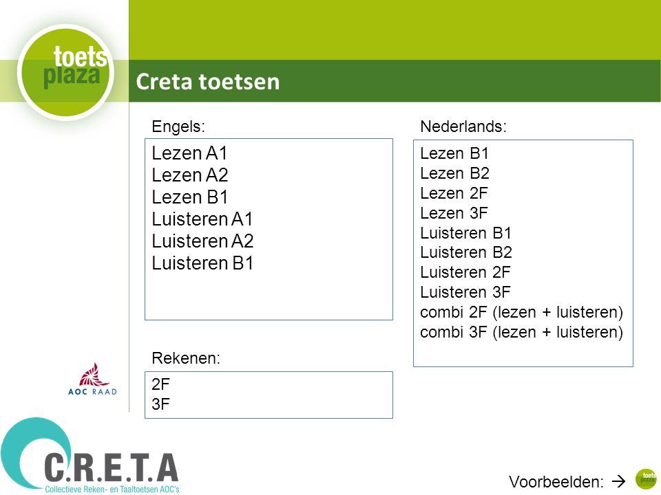 Creta toetsen Lezen A1 Lezen A2 Lezen B1 Luisteren A1 Luisteren A2 Luisteren B1 2F 3F Voorbeelden:  Lezen B1 Lezen B2 Lezen 2F Lezen 3F Luisteren B1