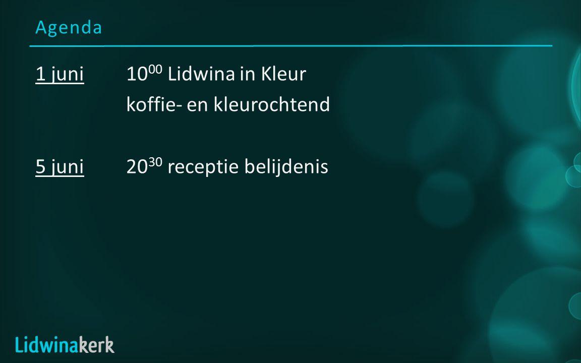 Agenda 1 juni10 00 Lidwina in Kleur koffie- en kleurochtend 5 juni20 30 receptie belijdenis