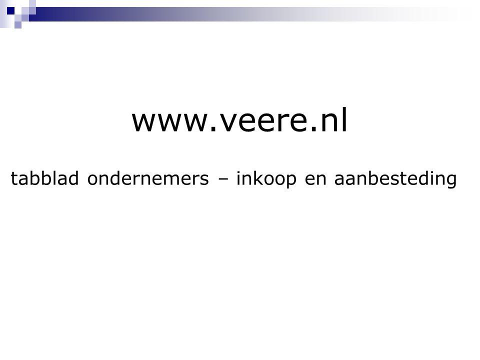 www.veere.nl tabblad ondernemers – inkoop en aanbesteding