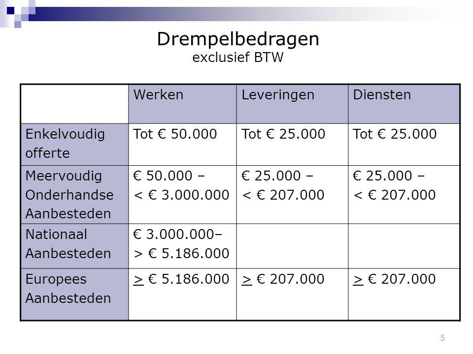 5 WerkenLeveringenDiensten Enkelvoudig offerte Tot € 50.000Tot € 25.000 Meervoudig Onderhandse Aanbesteden € 50.000 – < € 3.000.000 € 25.000 – < € 207.000 € 25.000 – < € 207.000 Nationaal Aanbesteden € 3.000.000– > € 5.186.000 Europees Aanbesteden > € 5.186.000> € 207.000 Drempelbedragen exclusief BTW